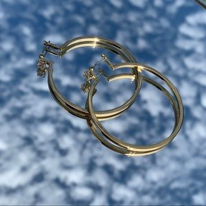 Gold hoops with diamond detail!